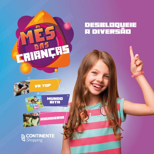 Outubro chegou com atrações especiais para as crianças no Continente Shopping