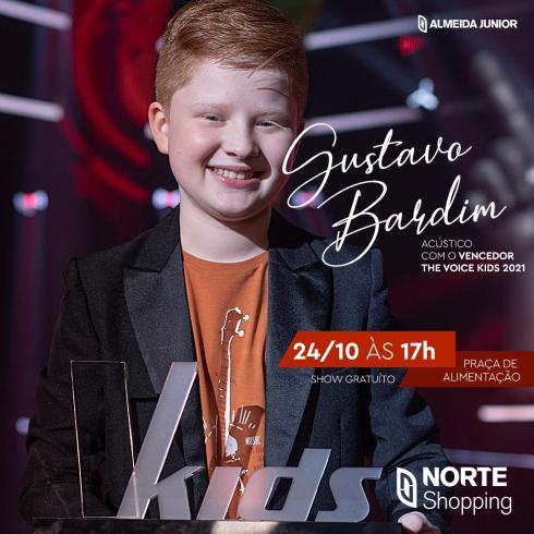 Vencedor do The Voice Kids, Gustavo Bardim faz show gratuito no Norte Shopping